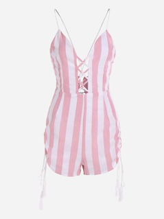 Contrast Striped Criss Cross Front Playsuit With Fringe