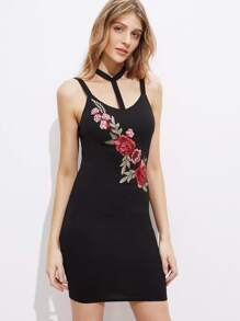 Embroidered Flower Applique Choker Halter Thick Strap Dress