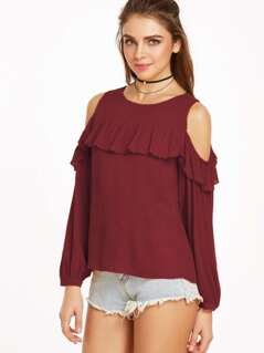 Open Shoulder Frill Trim Crinkle Top
