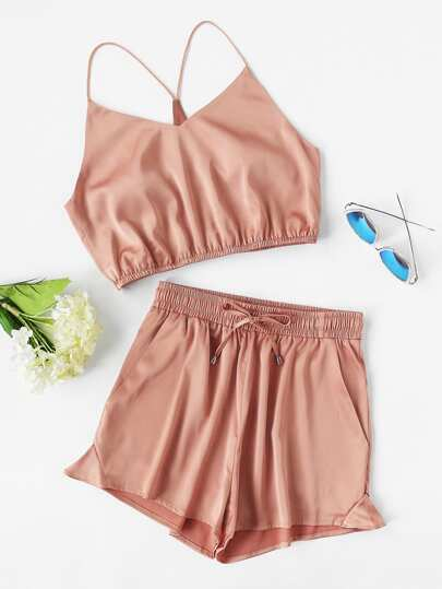 Y-Back Elasticized Crop Cami And Shorts Set