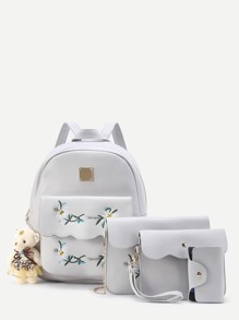 Flower Embroidery And Bear Decorated PU Backpack Set 4pcs