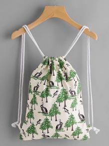Leaf Print Drawstring Canvas Backpack