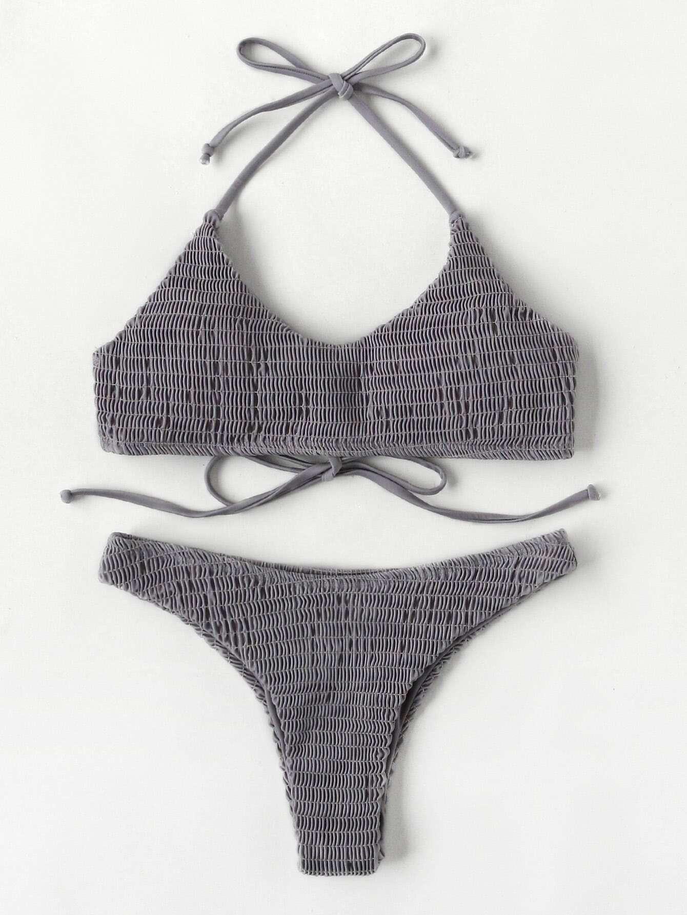 Shirred Halter Bikini Set swimwear170622305
