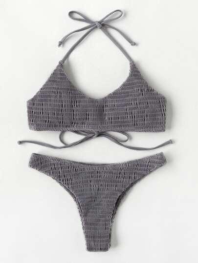 Shirred Halter Bikini Set