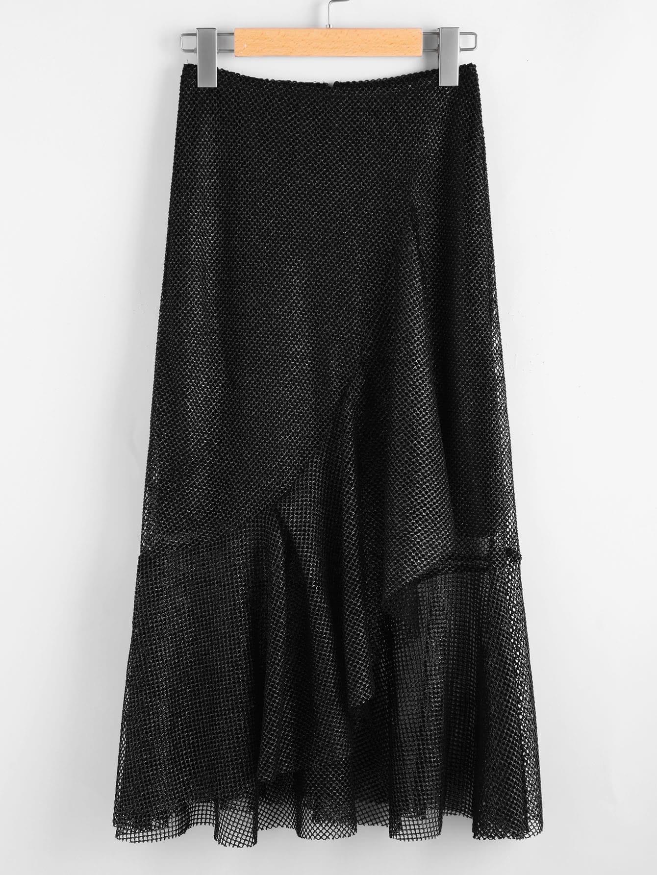 Image of Asymmetric Flounce Trim Metallic Fishnet Skirt