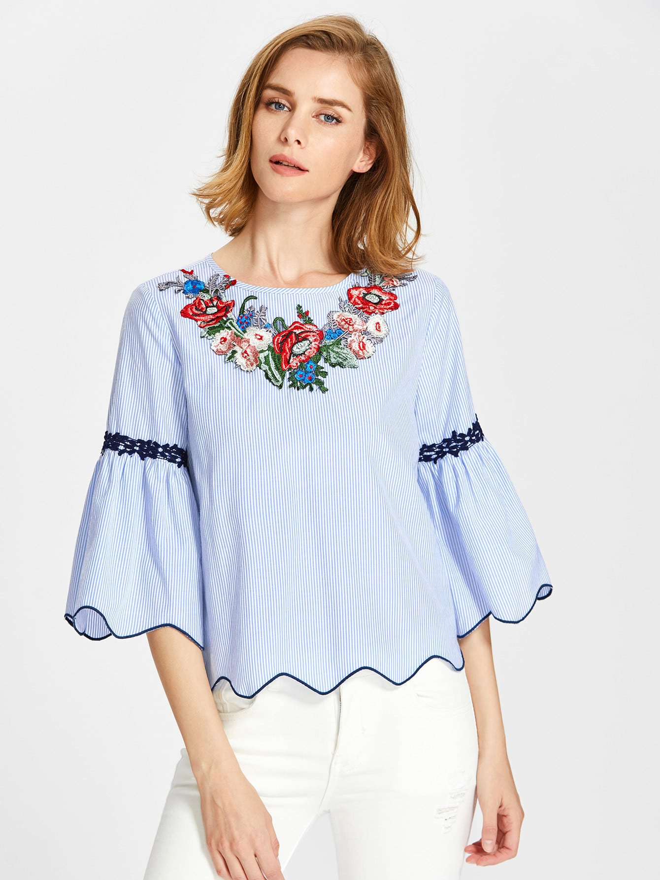 Фото Embroidered Yoke Lace Applique Piping Scalloped Top. Купить с доставкой
