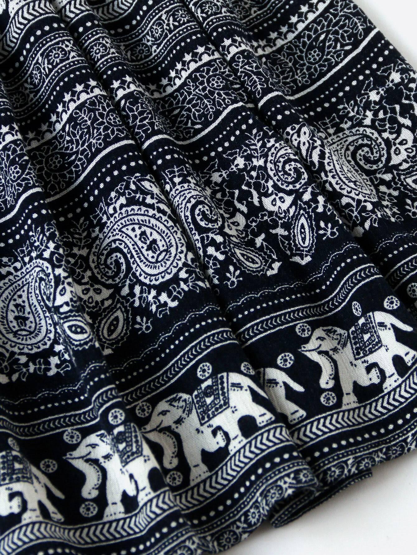 Elastic Waist Mixed Print Circle Skirt