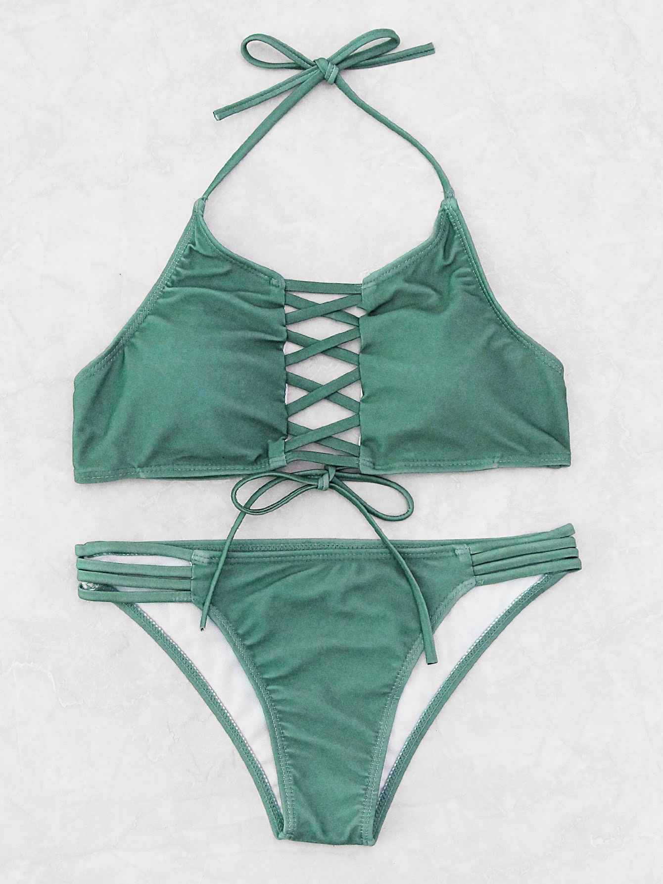 Criss Cross Ladder Cutout Halter Bikini Set