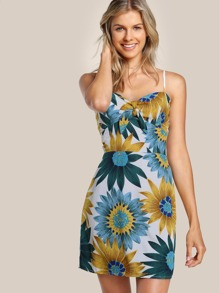 Front Knot Floral Print Cami Dress MUSTARD GREEN