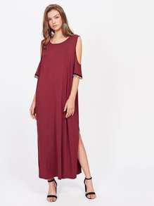Open Shoulder Low Back Slit Side Pom Pom Dress