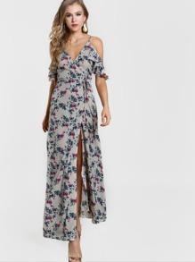 Frill Sleeve Plunging Surplice Wrap Dress