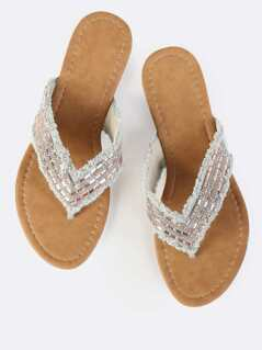 Jeweled Denim Sandals Beige