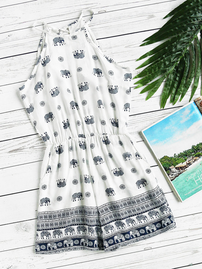 Elephant Print Split Self Tie Back Romper