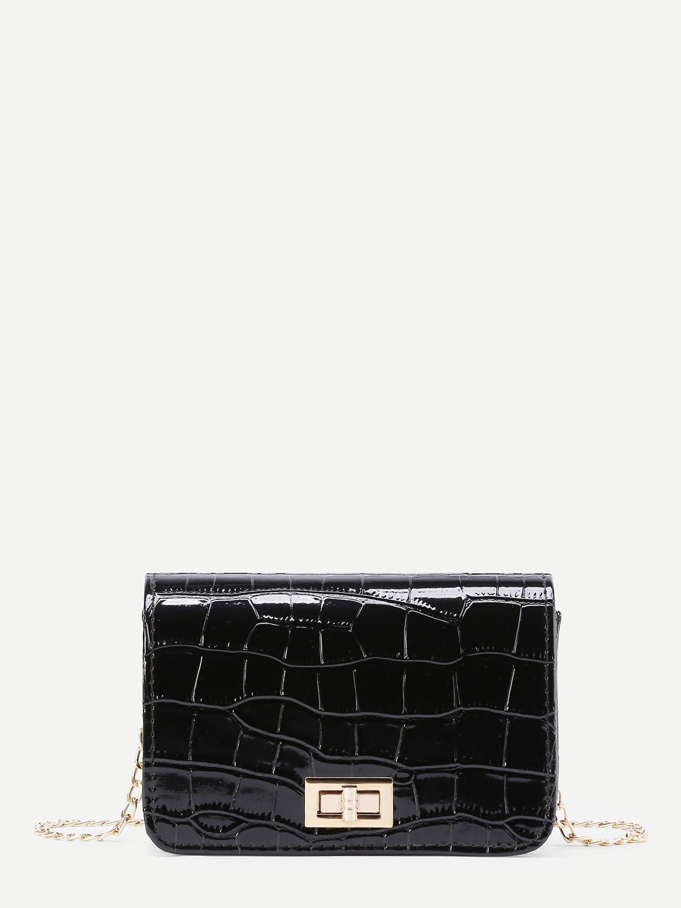 Twist Lock Crocodile PU Bag