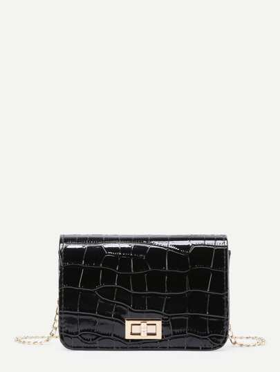 Twist Lock Crocodile PU Crossbody Bag
