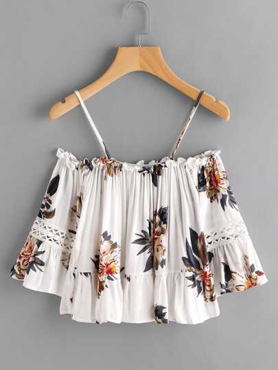 Flounce Hem Open Shoulder Florals Top