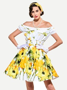 Bardot Abstract Sunflower Print Circle Dress