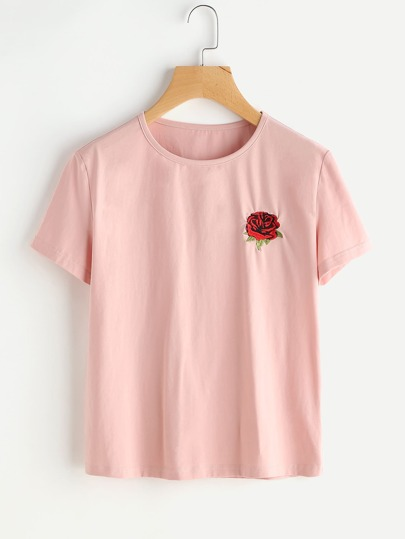 T-Shirt mit Rose Stickereien