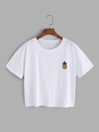 White Pineapple Embroidered Patch T-shirt