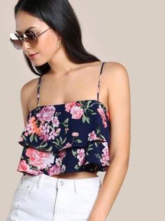 Floral Print Flounce Crop Top NAVY