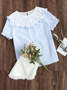 Eyelet Embroidered Yoke Frill Trim Striped Top