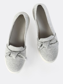 Heathered Bow Slip On Sneakers GREY