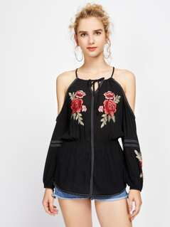 Flower Embroidered Applique Tie Detail Elasticized Wasit Top