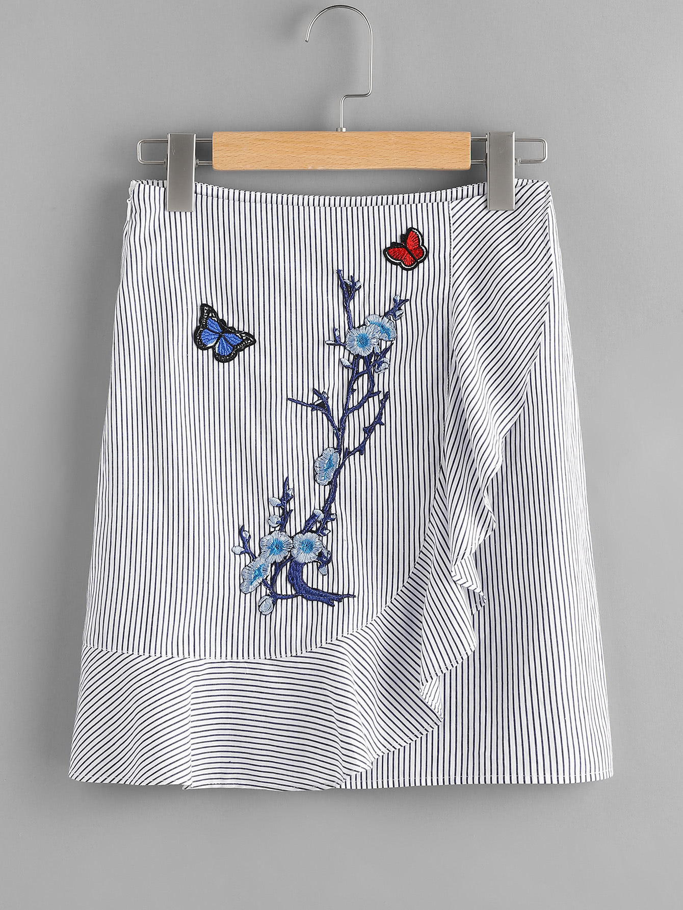 Embroidered Patch Frill Detail Pinstripe Skirt