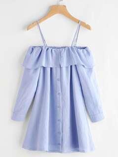 Cold Shoulder Single Breasted Dress