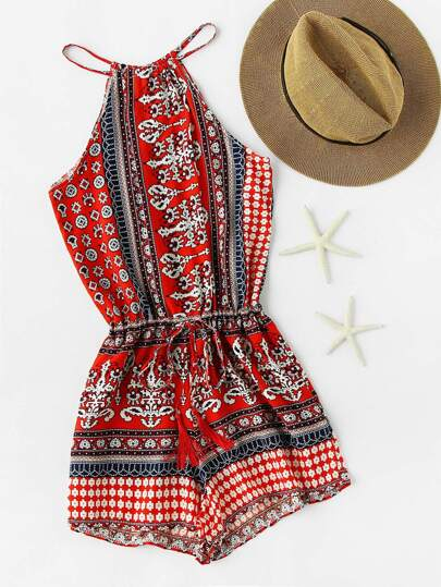 Random Drawstring Waist Split Self Tie Back Romper