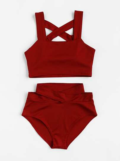 Criss Cross High Waist Bikini Set