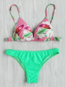 Top bikini con stampa tropicale con slip bikini