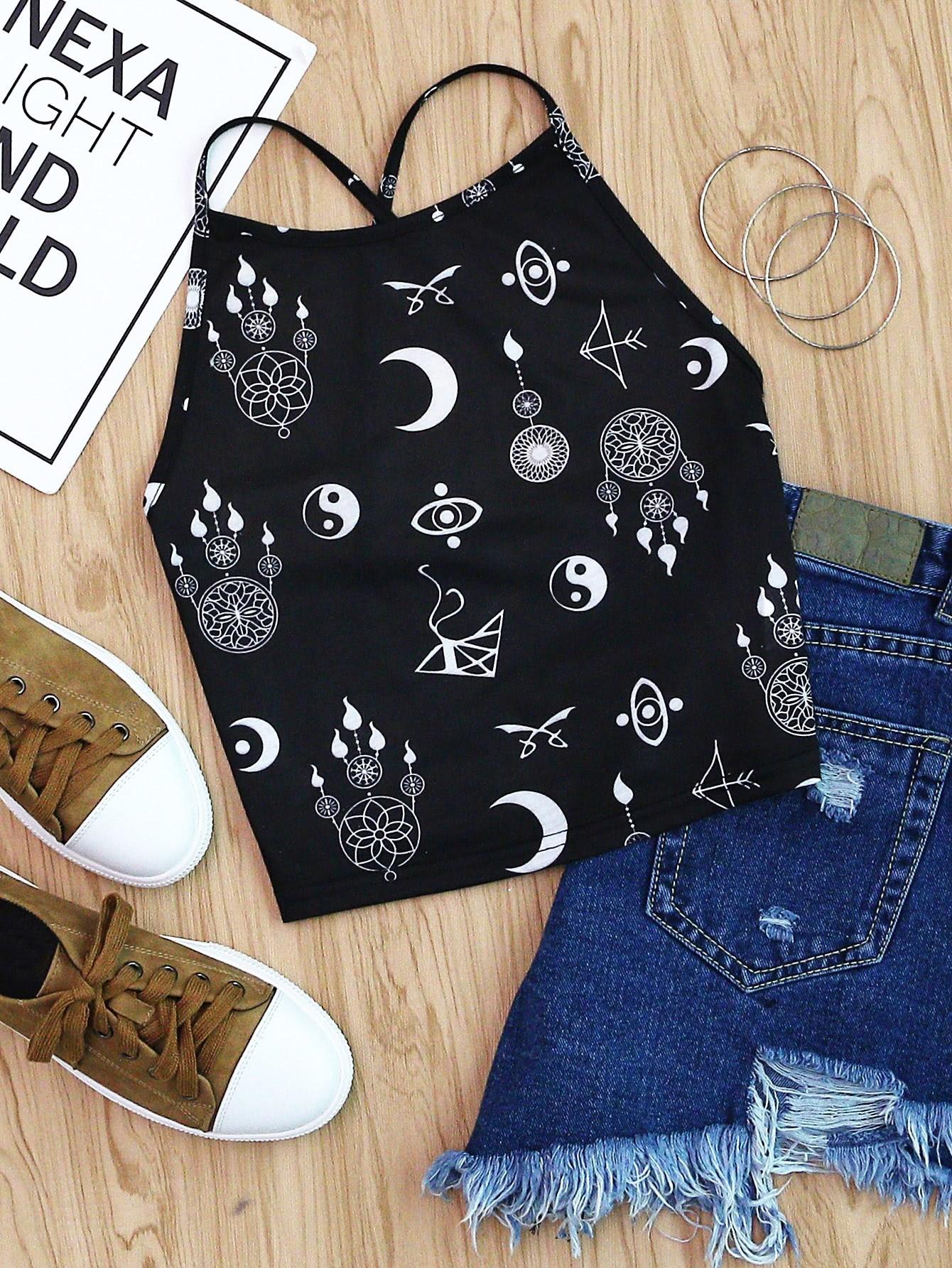 Allover Tribal Symbol Print Crisscross Cami Top