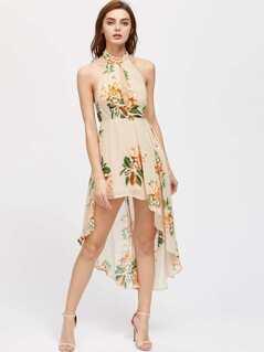Halterneck Cut Out Front Asymmetrical Hem Dress