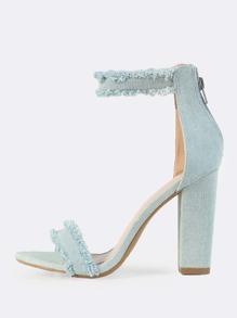 Light Denim Ankle Strap Heels BLUE