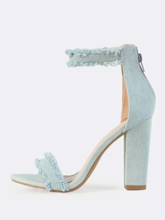 Light Denim Ankle Strap Heels BLUE