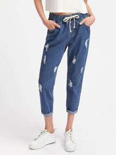 Drawstring Waist Ripped Boyfriend Jeans