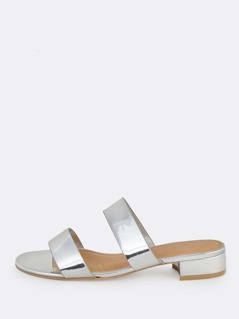 Double Band Metallic Mules SILVER