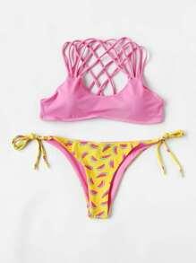 Set di bikini con stampa di anguria