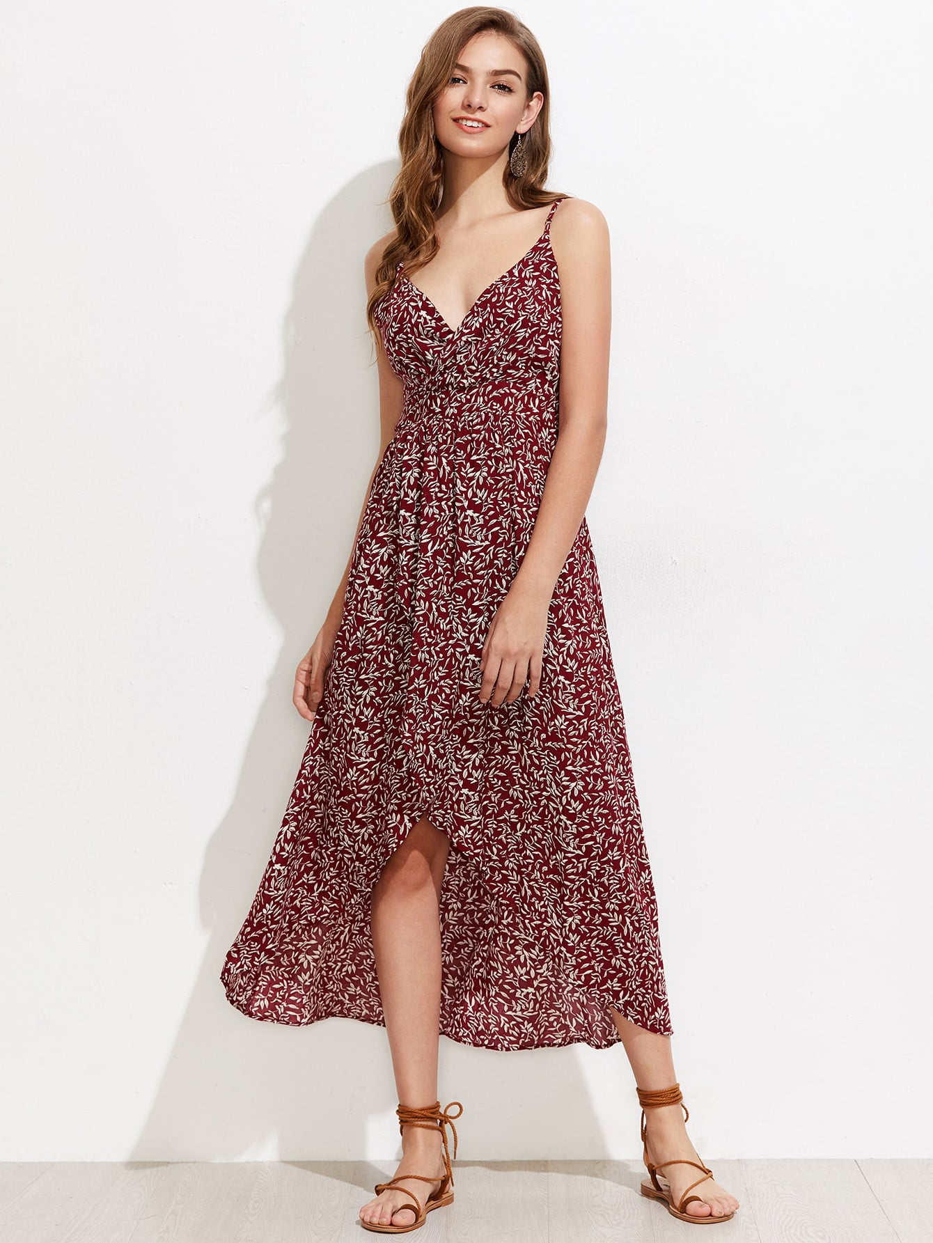 Calico Print Tulip Hem Cami Dress