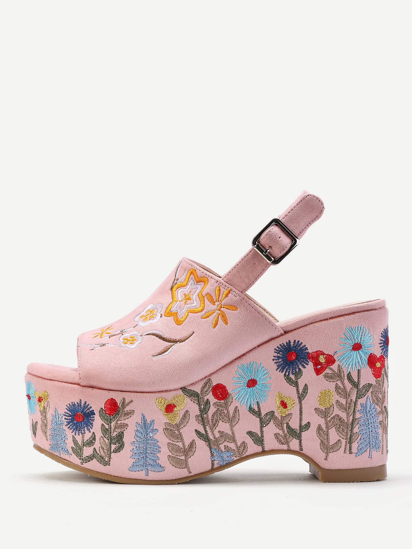 Фото Flower Embroidery Slingback Wedge Sandals. Купить с доставкой