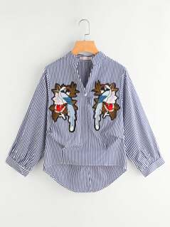 Vertical Striped Embroidery Applique Gathered Blouse