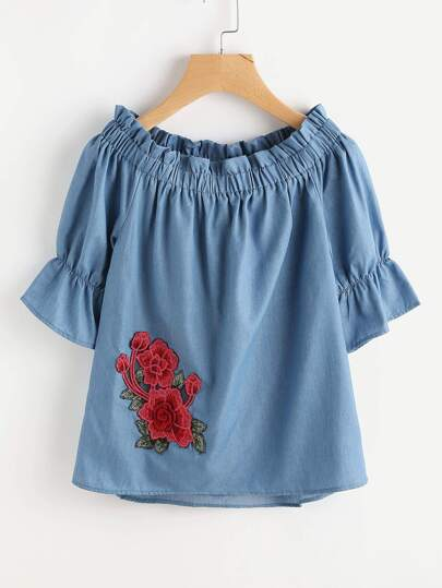 Boat Neckline Rose Embroidered Applique Chambray Blouse