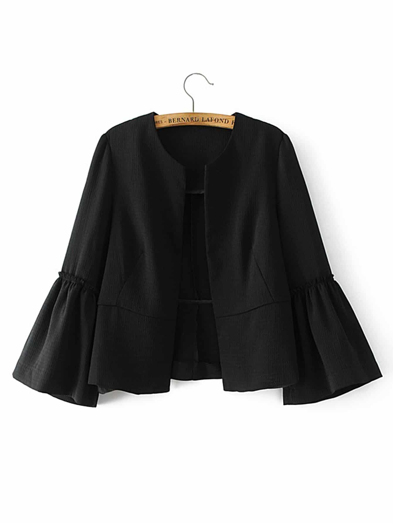 Image of Bell Sleeve Frill Trim Blazer