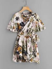 Palm Leaf Surplice Self Tie Asymmetric Hem Dress