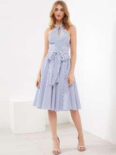 Crossover Halter Striped Dress