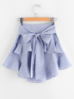 Self Belt Tiered Striped Skirt