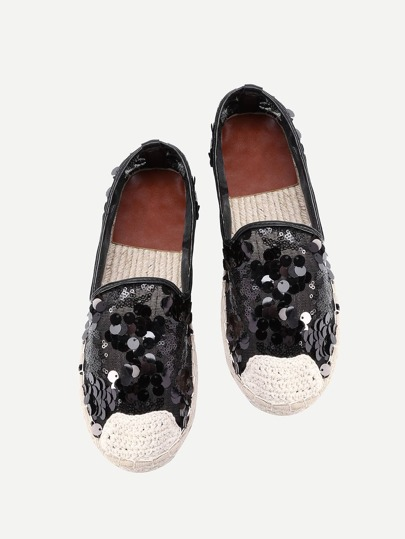 Sequin Decorated Lace Espadrille Flats