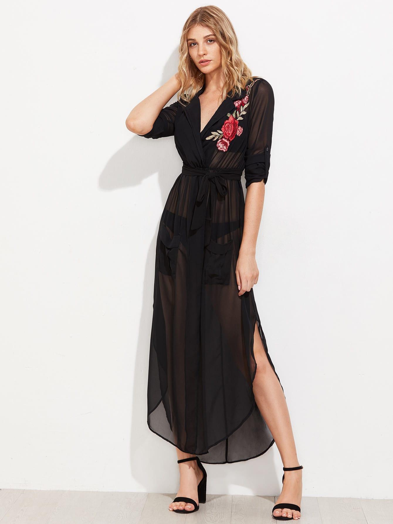 Фото Embroidered Applique Self Tie Curved Hem Chiffon Shirt Dress. Купить с доставкой