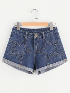 Star Seam Roll Hem Denim Shorts